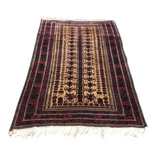 Antique Red & Brown Balouch Rug - 3′5″ × 5′10″