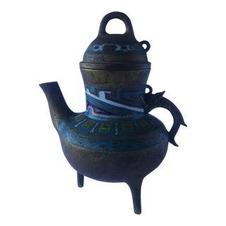 Antique Chinese Bronze Cloisonne Incense Burner Teapot