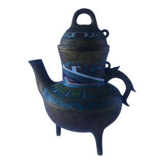 Antique Chinese Bronze Cloisonne Incense Burner Teapot