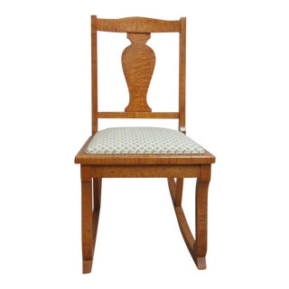 Antique Empire Birds Eye Maple Carved Petite Rocker