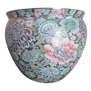 Gold Floral Asian Planter