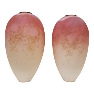 "Over Scale ""Keony Jolovy"" Pink Raku Studio Pottery Vases - A Pair"
