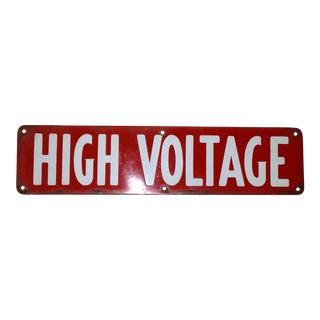 1930s Vintage High Voltage Red Porcelain Sign