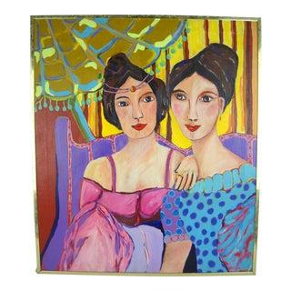 "Fauvist ""Deux Femmes"" Oil on Canvas Painting"