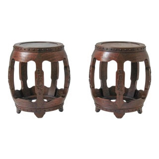 Antique Chinese Rosewood Drum Stools -A Pair