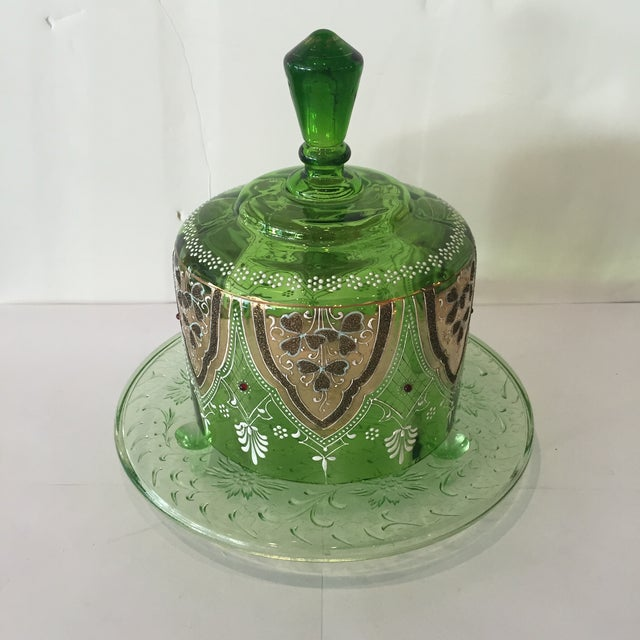 Vintage Green Glass Bohemian Cake Plate With Lid - Image 3 of 5