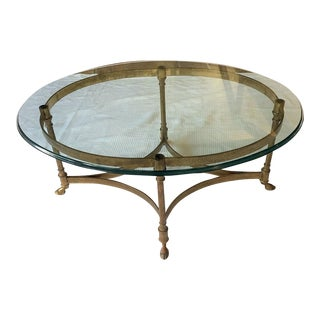 French Mid-Century La Barge Oval Brass Coffee Table