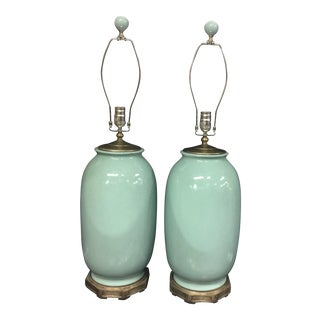 Currey and Company Myth Blue Table Lamps - a Pair