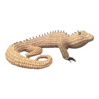 Mid-Century Modern Mario Lopez Torres Rare Woven Palm Wicker Iguana Sculpture