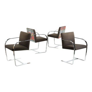 20th Century Mies Van Der Rohe Chromed BRNO Arm Chairs- Set of 4
