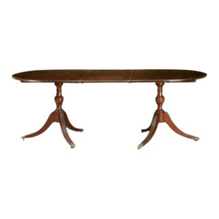 Elegant Georgian Style Mahogany Double Pedestal Dining Table