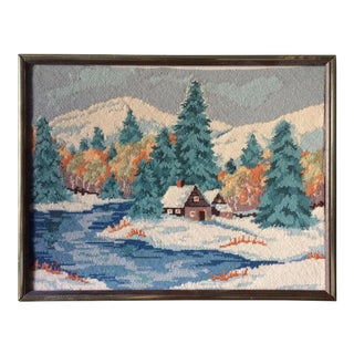 Framed Winter Cabin in the Woods Needlepoint Artwork