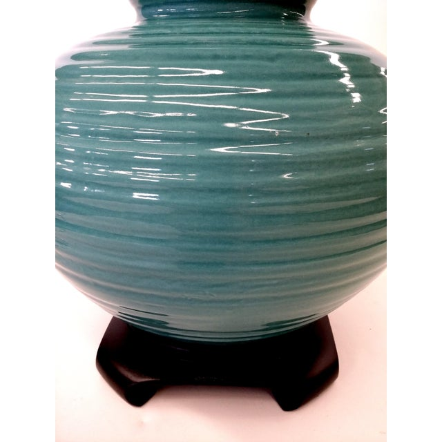 Transitional Turquoise Ribbed Custom Lamp Base - Image 11 of 11