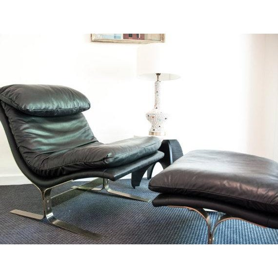 Vintage Leather Lounge Chair & Ottoman - Image 3 of 3