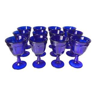 12 Vintage Cobalt Blue Stemmed Glasses