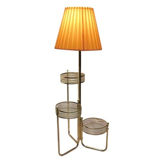 Vintage Brass & Glass Tiered Shelf Floor Lamp