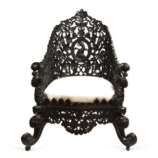 Antique 1850 Anglo-Indian Hand Carved Chair