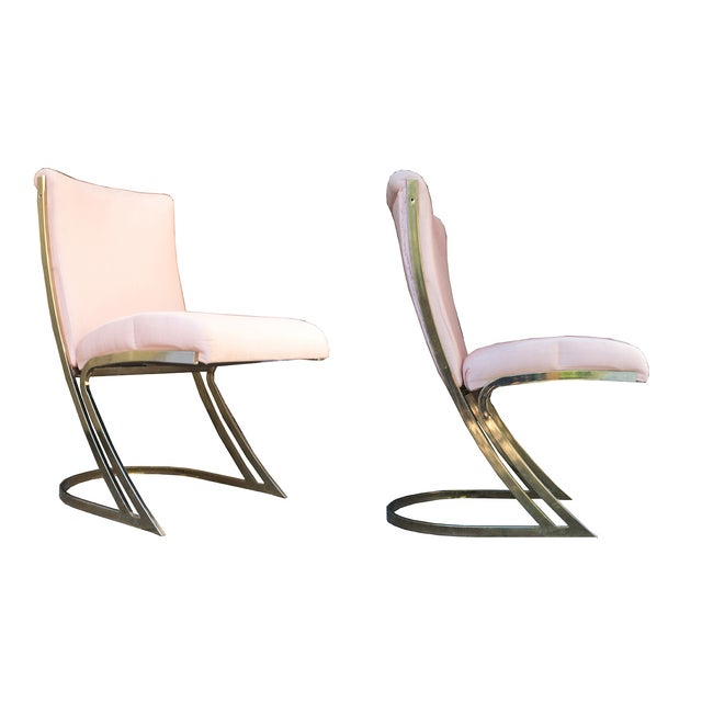 Image of Pierre Cardin Style Brass Z Chairs - Set of 6