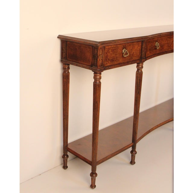 Jonathan Charles Seaweed Marquetry Console Table Chairish