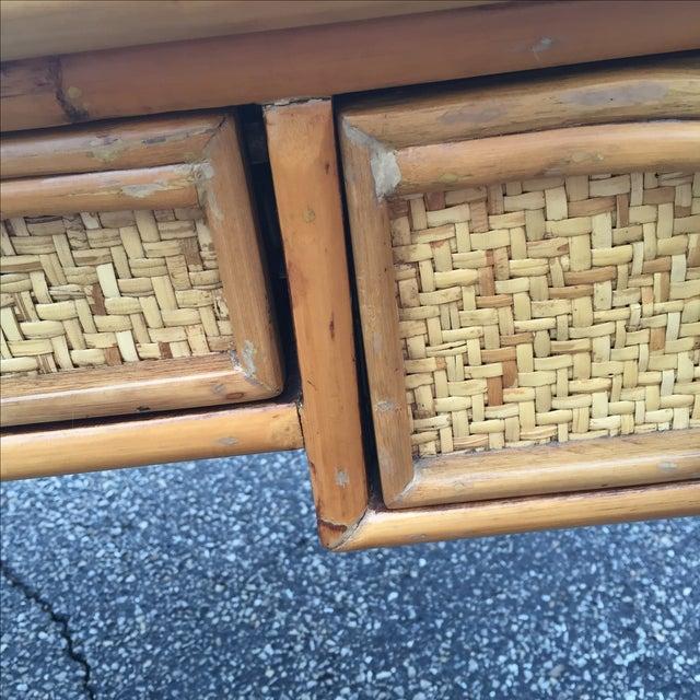 Vintage Island Bamboo Rattan Writing Desk - Image 9 of 11
