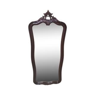 Vintage Oak Wood Mahogany Finish Mirror