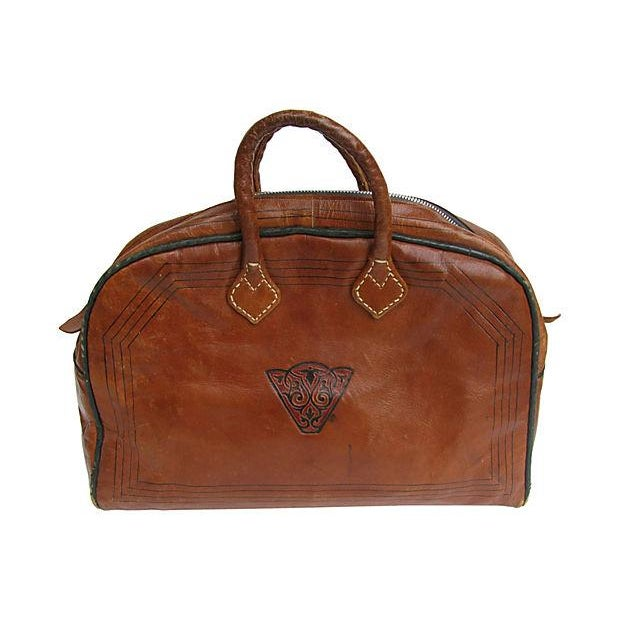 Vintage French Handcrafted Leather Satchel - Image 2 of 9