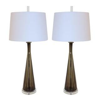 Smoke Mocha Vintage Murano Glass Lamps - Pair