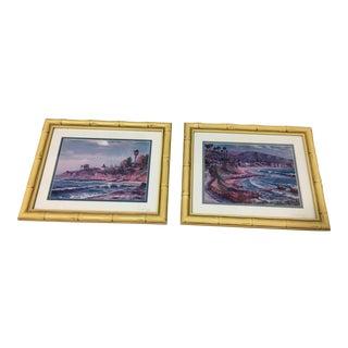 Bamboo Framed Laguna Beach Pictures - A Pair