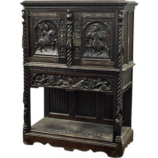 Antique Carved Continental Renaissance Hunt Cabinet