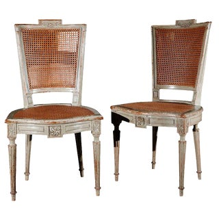 Antique Louis XVI Style Painted Dining Chairs - Set of 8