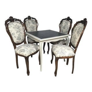 Antique French Game Table and Chairs - S/5