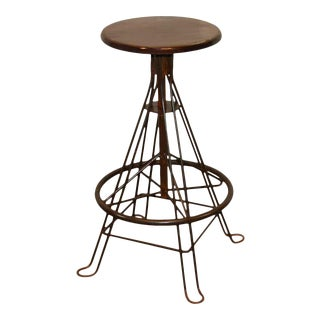 Industrial Wooden Top Iron Stool