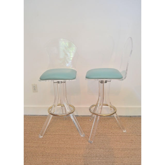 Vintage Lucite Swivel Bar Stools - a Pair - Image 4 of 6