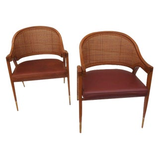 Wormley Dunbar Bentwood & Cane Arm Chairs - A Pair
