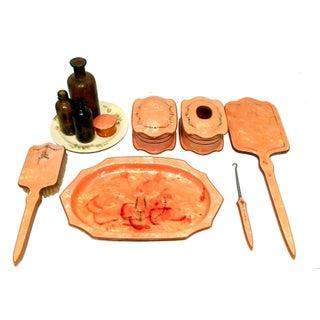 Art Deco Peach Celluloid Vanity Set - Set of 11