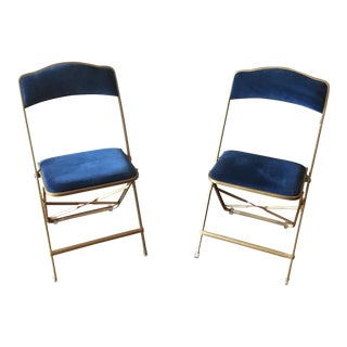 Hollywood Regency Royal Blue Velvet Folding Chairs - A Pair