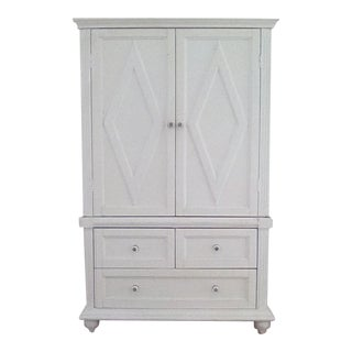 White Shabby Chic Cottage Beach Media Armoire Cabinet
