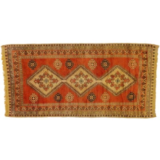 Vintage Berber Orange Moroccan Rug with Modern Style, 5'3x10'4