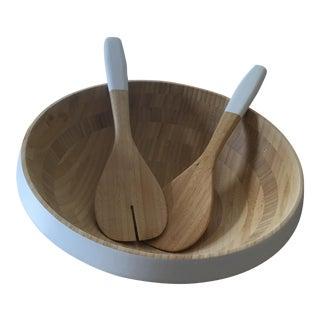 Painted Wood Salad Bowl & Utensils - Set of 3