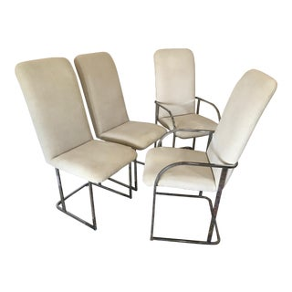 High Back Chrome Dining Chairs - Set of 4
