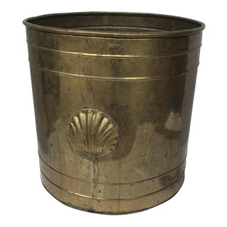 Large Vintage Brass Planter With Seashell