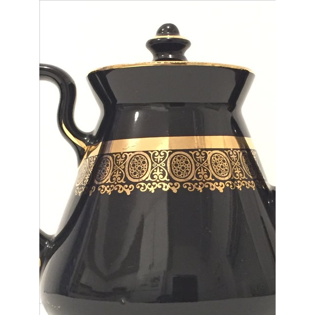 """Black and Gold Hollywood Regency """"Hall Usa"""" Teapot - Image 4 of 9"""