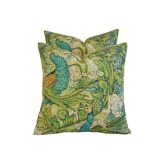 Lush Floral & Peacock Linen Pillows- A Pair - Image 1 of 8