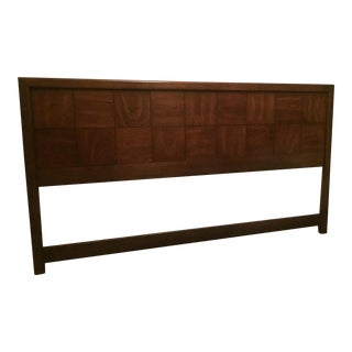 Hollywood Regency Walnut Campaign King Headboard