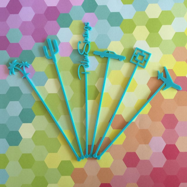 Image of Coral Palm Springs Party Drink Stirrers - S/6