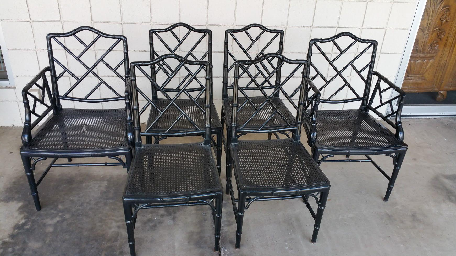 Chinese Chippendale Faux Bamboo Chairs   Set Of 6   Image 2 Of 6