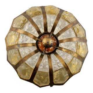 Italian Mottled Glass and Bronze Round Flush Mount Fixture
