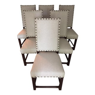 Beige Linen Nailhead Dining Chairs - S/6