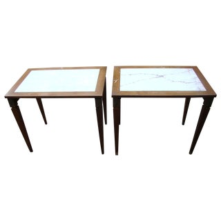 19th C. Louis XVI Marble Burled Wood Tables
