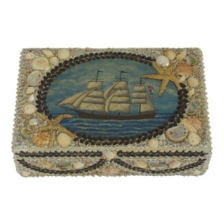 Seashell Box Nautically Decorated with Ship Painting